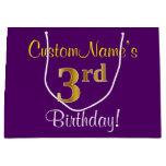 [ Thumbnail: Elegant, Purple, Faux Gold 3rd Birthday + Name Gift Bag ]