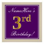 [ Thumbnail: Elegant, Purple, Faux Gold 3rd Birthday + Name Poster ]