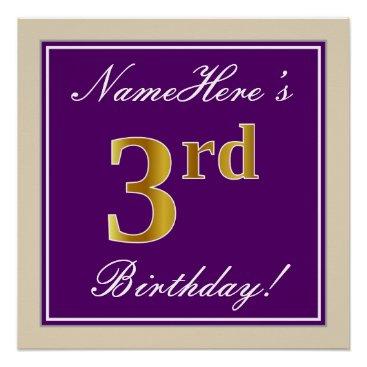 Art Themed Elegant, Purple, Faux Gold 3rd Birthday   Name Poster