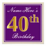 [ Thumbnail: Elegant, Purple, Faux Gold 40th Birthday + Name Invitation ]
