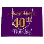 [ Thumbnail: Elegant, Purple, Faux Gold 40th Birthday + Name Gift Bag ]
