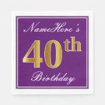 [ Thumbnail: Elegant Purple, Faux Gold 40th Birthday + Name Paper Napkin ]