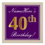 [ Thumbnail: Elegant, Purple, Faux Gold 40th Birthday + Name Poster ]