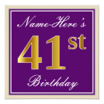 [ Thumbnail: Elegant, Purple, Faux Gold 41st Birthday + Name Invitation ]