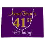 [ Thumbnail: Elegant, Purple, Faux Gold 41st Birthday + Name Gift Bag ]