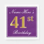 [ Thumbnail: Elegant Purple, Faux Gold 41st Birthday + Name Napkin ]