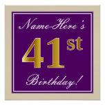 [ Thumbnail: Elegant, Purple, Faux Gold 41st Birthday + Name Poster ]
