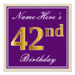[ Thumbnail: Elegant, Purple, Faux Gold 42nd Birthday + Name Invitation ]