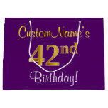 [ Thumbnail: Elegant, Purple, Faux Gold 42nd Birthday + Name Gift Bag ]