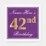 [ Thumbnail: Elegant Purple, Faux Gold 42nd Birthday + Name Napkin ]