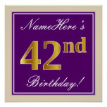 [ Thumbnail: Elegant, Purple, Faux Gold 42nd Birthday + Name Poster ]
