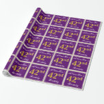 [ Thumbnail: Elegant, Purple, Faux Gold 42nd Birthday + Name Wrapping Paper ]