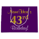 [ Thumbnail: Elegant, Purple, Faux Gold 43rd Birthday + Name Gift Bag ]