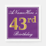 [ Thumbnail: Elegant Purple, Faux Gold 43rd Birthday + Name Napkin ]