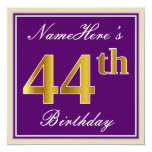 [ Thumbnail: Elegant, Purple, Faux Gold 44th Birthday + Name Invitation ]