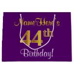 [ Thumbnail: Elegant, Purple, Faux Gold 44th Birthday + Name Gift Bag ]