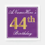 [ Thumbnail: Elegant Purple, Faux Gold 44th Birthday + Name Napkin ]