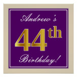 [ Thumbnail: Elegant, Purple, Faux Gold 44th Birthday + Name Poster ]