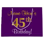[ Thumbnail: Elegant, Purple, Faux Gold 45th Birthday + Name Gift Bag ]