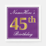 [ Thumbnail: Elegant Purple, Faux Gold 45th Birthday + Name Napkin ]