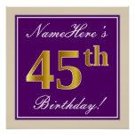 [ Thumbnail: Elegant, Purple, Faux Gold 45th Birthday + Name Poster ]