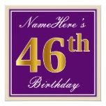 [ Thumbnail: Elegant, Purple, Faux Gold 46th Birthday + Name Invitation ]