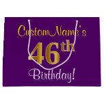 [ Thumbnail: Elegant, Purple, Faux Gold 46th Birthday + Name Gift Bag ]