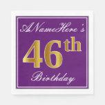 [ Thumbnail: Elegant Purple, Faux Gold 46th Birthday + Name Napkin ]