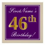 [ Thumbnail: Elegant, Purple, Faux Gold 46th Birthday + Name Poster ]