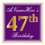 [ Thumbnail: Elegant, Purple, Faux Gold 47th Birthday + Name Invitation ]
