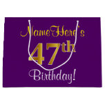 [ Thumbnail: Elegant, Purple, Faux Gold 47th Birthday + Name Gift Bag ]