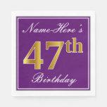 [ Thumbnail: Elegant Purple, Faux Gold 47th Birthday + Name Napkin ]