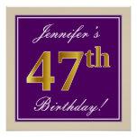 [ Thumbnail: Elegant, Purple, Faux Gold 47th Birthday + Name Poster ]