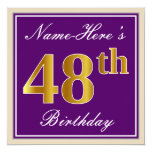 [ Thumbnail: Elegant, Purple, Faux Gold 48th Birthday + Name Invitation ]