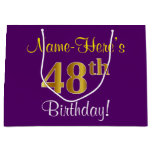[ Thumbnail: Elegant, Purple, Faux Gold 48th Birthday + Name Gift Bag ]