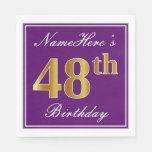 [ Thumbnail: Elegant Purple, Faux Gold 48th Birthday + Name Napkin ]
