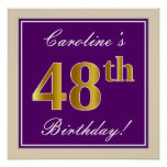 [ Thumbnail: Elegant, Purple, Faux Gold 48th Birthday + Name Poster ]