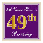 [ Thumbnail: Elegant, Purple, Faux Gold 49th Birthday + Name Invitation ]