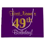 [ Thumbnail: Elegant, Purple, Faux Gold 49th Birthday + Name Gift Bag ]
