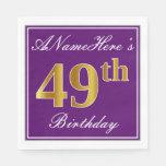[ Thumbnail: Elegant Purple, Faux Gold 49th Birthday + Name Napkin ]