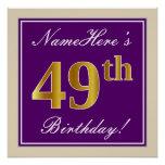 [ Thumbnail: Elegant, Purple, Faux Gold 49th Birthday + Name Poster ]