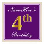 [ Thumbnail: Elegant, Purple, Faux Gold 4th Birthday + Name Invitation ]