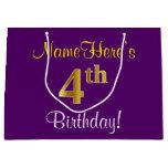 [ Thumbnail: Elegant, Purple, Faux Gold 4th Birthday + Name Gift Bag ]