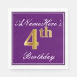 [ Thumbnail: Elegant Purple, Faux Gold 4th Birthday + Name Napkin ]