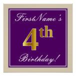 [ Thumbnail: Elegant, Purple, Faux Gold 4th Birthday + Name Poster ]