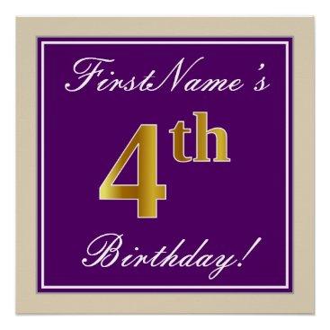 Art Themed Elegant, Purple, Faux Gold 4th Birthday   Name Poster