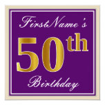 [ Thumbnail: Elegant, Purple, Faux Gold 50th Birthday + Name Invitation ]