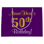 [ Thumbnail: Elegant, Purple, Faux Gold 50th Birthday + Name Gift Bag ]