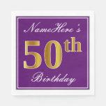 [ Thumbnail: Elegant Purple, Faux Gold 50th Birthday + Name Paper Napkin ]