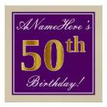 [ Thumbnail: Elegant, Purple, Faux Gold 50th Birthday + Name Poster ]